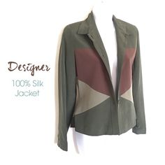 Classy Color Block 100% Silk Jacket Stylish color block jacket by designer Pat Argenti. Stunning 100% silk perfect colors for the season. This is for the sophisticated women that only wants the best. The quality of this piece is amazing. Done in a color block design of brown & shades of green and fully lined. Can be worn alone or open with a blouse or cami. Gorgeous vintage & a Host Pick!! Pat Argenti Jackets & Coats