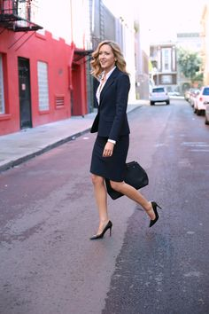 three piece suit with black pumps