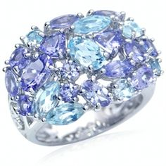 Natural Tanzanite & Blue Topaz White Gold Plated 925 Sterling Silver Cluster Ring