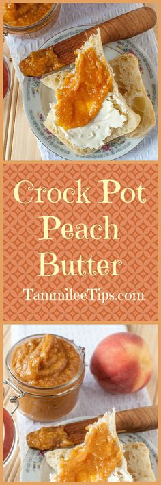 Easy Crockpot Peach Butter Recipe perfect for canning or enjoying fresh! , , Easy Crockpot Peach Butter Recipe perfect for canning or enjoying fresh! This slow cooker recipe is so easy and you can easily make it a spiced peach . Crock Pot Slow Cooker, Crock Pot Cooking, Slow Cooker Recipes, Crockpot Recipes, Cooking Tips, Crockpot Peach Butter Recipe, Butter Crock, Paleo Dessert, Healthy Desserts