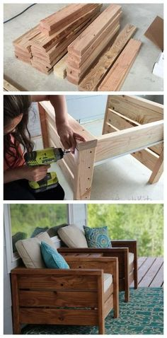 Outdoor furniture diy project porch furniture patio furniture deck furniture outdoor living summer stained wood diy furniture stain it any color just add cushions and pillows cottage decor outdoor decor home decor diy decor easy to make o Woodworking Projects Diy, Diy Wood Projects, Diy Summer Projects, Popular Woodworking, Woodworking Bench, Diy House Projects, Woodworking Joints, Woodworking Shop, Youtube Woodworking