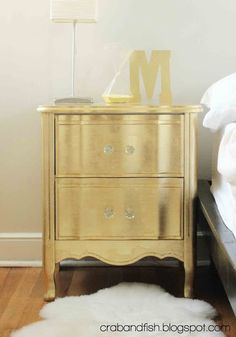 DIY gold leaf night stand but crab+fish: gilded nightstand Furniture Projects, Furniture Makeover, Home Projects, Diy Furniture, Small Furniture, Bedroom Furniture, Gold Bedroom, Bedroom Decor, Do It Yourself Furniture