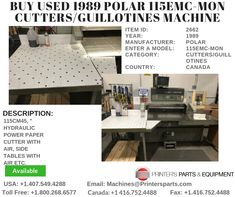 Printer's Parts & Equipment Offer 1989 POLAR Cutters/Guillotines Machine at worldwide. For more nformation, call us / Press Machine, Design Development, Printer, Home Decor, Homemade Home Decor, Decoration Home, Room Decor, Interior Design, Home Interiors