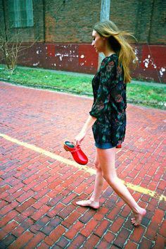Red Brick Road 6 (neohypofilms) Tags: road street red woman cinema color cute sexy brick slr art classic film feet girl beautiful beauty lady female 35mm vintage rouge photography foot nikon 60s shoes pretty colours legs sweet walk candid cleveland 28mm hipster young picture style slide retro photograph barefoot 70s clogs heels hippie series barefeet casual 1960s 1970s cinematic mules e6 platforms fm2 waliking neohypofilms
