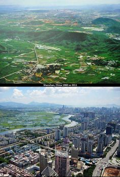 Skylines Of The World: Then Vs Now: Shenzen, China. Then Vs Now, Then And Now Photos, Shenzhen China, Before After Photo, World Pictures, World Cities, Famous Places, Panama City Panama, Vacation Spots