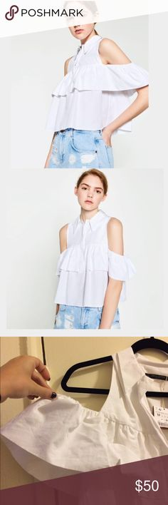 Frilled cut out shoulder top form Zara! HP✨✨✨✨✨ White button down with a modern twist!! Ruffled sleeve with cold shoulder detailing! Zara Tops