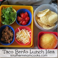 TACO BENTO LUNCH IDEA (though I'd substitute the ground beef for beans).
