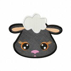 Farm Sheep Face Applique 5_5 Inch