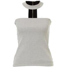 CHOKER NECK BANDEAU TOP (£40) ❤ liked on Polyvore featuring tops, white bandeau bikini top, bandeau tops, bandeau bikini top, white bandeau top and white tops