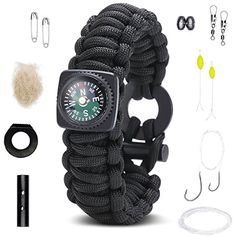 Survival Bracelet Best Paracord Wristband With Compass Wrist Strap Rescue Gear Emergency Fire Starter Kit Tactical Rope Cord Ultimate Bracelets for Men  Kids Camping Band Hunting Fishing Hiking >>> ON SALE Check it Out