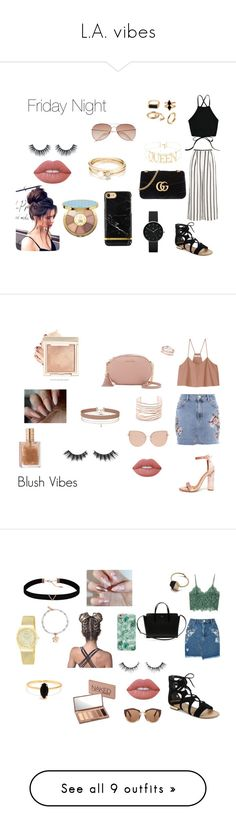 """""""L.A. vibes"""" by itsmylife-sandra ❤ liked on Polyvore featuring Saks Fifth Avenue, Gucci, Finders Keepers, Loren Stewart, Newgate, H&M, Lime Crime, tarte, Cape Robbin and TIBI"""