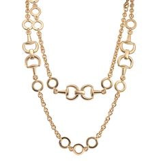 CIRO Jewelry Athena chain gold necklace. Featuring a unique bridles equestrian design. 105cm in length. Gold plated.