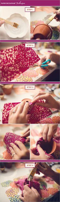 How to paper decoupage a terra cotta pot. #decoupage #howto #makeityourself http://www.weddingchicks.com/2013/10/31/diy-terra-cotta-pots/: