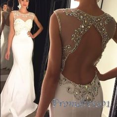 Beaded white mesh chiffon mermaid Prom Dress, ball gowns weddng dress