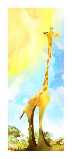 Giraffe enjoying the African sun by drawsome