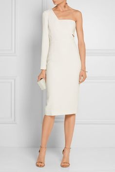 White stretch-cady Concealed hook and zip fastening at side 97% viscose, 3% elastane; lining: 93% silk, 7% elastane Dry clean