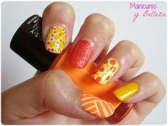 Nail art mix in orange and yellow Geometric nails / Manicura con mix de diseños en naranja y amarillo Uñas Geométricas