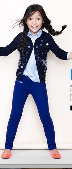 J.Crew / crewcuts, bubble iridescent cardigan, button down, cobalt pants, neon persimmon flats