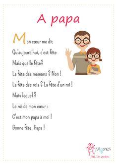 Les Momes vont fêter leur roi: leur papa! Un poème pour la fête des pères.