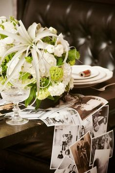 Photo table runner love this for the guest book table
