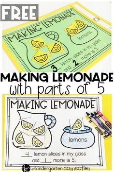 Have fun decomposing numbers and working on parts of 5 in your math centers with this free printable lemonade activity! Perfect for Kindergarten math! Numbers Kindergarten, Preschool Math, Fun Math, Math Games, Teaching Math, Math Activities, Kindergarten Addition, Math Art, Kindergarten Math Stations