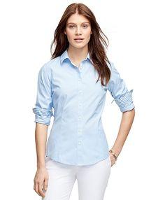 Non-Iron Tailored Fit Stripe Dress ShirtBlue