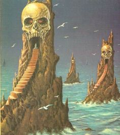 """""""Uncredited art, possibly by Ray Feibush, but confirmed not to be from Bruce Pennington. I know, that surprised me too. """" Three skull mountains by the sea. From The Best of Frank Herbert,. Dark Fantasy Art, Fantasy Artwork, Fantasy Rpg, Arte Horror, Horror Art, Dcc Rpg, Arte Black, 70s Sci Fi Art, Sword And Sorcery"""