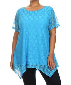 Love this Blue Lace Asymmetrical Top - Plus on #zulily! #zulilyfinds