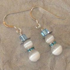 Swarovski Crystal Snowmen Earrings, Holiday Earrings, Holiday Jewelry. $12.00, via Etsy.: