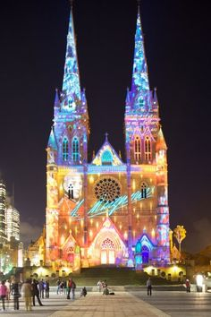 Australia - St Mary's Cathedral lit up as part of the Vivid light festival in Sydney every year Travel Photography Sydney Australia, Australia Travel, Australia Living, Festivals Around The World, Cathedral Church, Largest Countries, Kirchen, Beautiful Buildings, Best Vacations