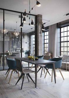 Una cocina abierta al salón de aire industrial · An industrial style open space concept home