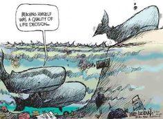 (Cartoon)  Ocean pollution / beached whale