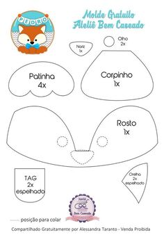 Fotos de Cris Silva Baby Sewing Projects, Sewing For Kids, Felt Crafts, Diy And Crafts, Bear Felt, Felt Templates, Woodland Decor, Fox Pattern, Felt Decorations