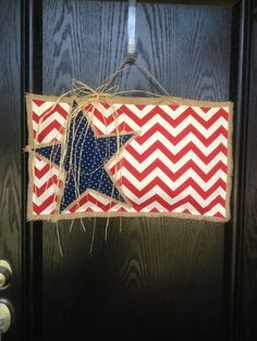 - American Flag Chevron & Burlap Door Hanger by karla