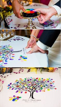 thumbprint tree guest book, I love doing it with all the different colors! In addition to a regular guest book. Wedding Guest Book, Diy Wedding, Wedding Day, Wedding Reception, Wedding Stuff, Lesbian Wedding, Budget Wedding, Wedding Photos, Reception Ideas