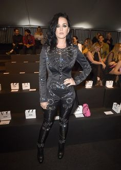 Katy Perry sparkled at the Moschino show.