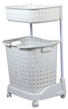 Basicwise 2 Tier Plastic Laundry Basket with Wheels Laundry Hamper, Decor, Laundry Basket On Wheels, Storage, House Inside, Home Organization, Laundry, Storage Spaces, Basket