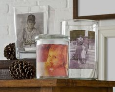 Create these vases using vintage images and Mod Podge photo transfer medium