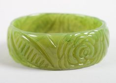 Green Bakelite Bangle Bracelet Vintage by HarpersVintage on Etsy, $32.00