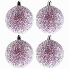 Purple Ball Ornaments with Tinsel Glitter