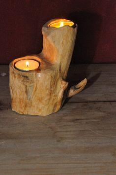 Wooden tea light candle holder