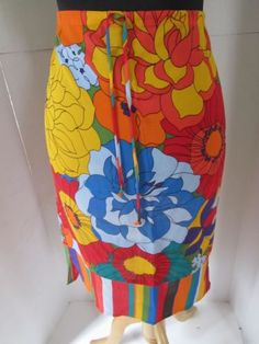 Petro Zillia Anthropologie Silk Abstract Floral Skirt Red Orange Yellow Blue S
