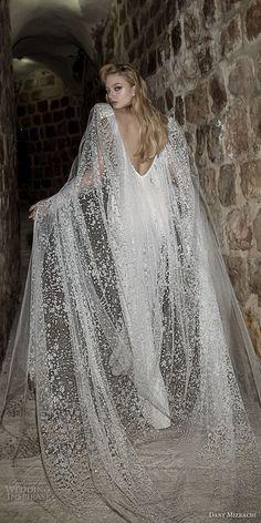 dany mizrachi spring 2018 bridal cap sleeves deep plunging v neck heavily embellished bodice sophiscated jumpsuit wedding dress open v back (36) bv -- Dany Mizrachi Spring 2018 Wedding Dresses