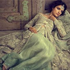Garden of evening green Mist. Elan Pakistan Bridal collection 2014