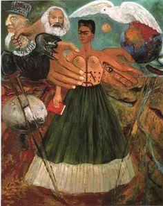 «Paz en la Tierra para que la Ciencia Marxista pueda Salvar a los Enfermos y a Aquellos Oprimidos por el Capitalismo Criminal Yanqui» by Frida Kahlo.  óleo sobre masonite 76 x 61 cm. Museo Frida Kahlo Coyoacán, Mexico
