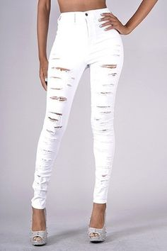 Sexy Acid Wash High-Waisted Cut-Out Skinny Jeans | Sexy, Skinny ...