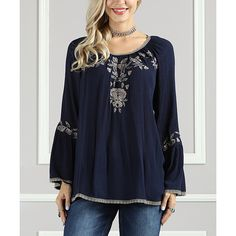 Suzanne Betro Navy & Taupe Embroidered Rose Tunic ($30) ❤ liked on Polyvore featuring tops, tunics, navy blue tops, long tunic, navy blue tunic, rayon tunic and boho tops