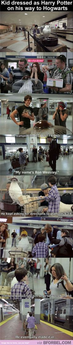 Kid Dresses As Harry Potter And Goes To Kings Cross Station Asking For Directions To Platform 9 3/4…