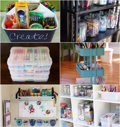 Organising arts and craft supplies for your little ones.