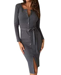 1213e4e09f942 $9.44 Abetteric Women's Trim-Fit Belted Single Breasted Pure Colour Mid  Long Dress Dark Grey